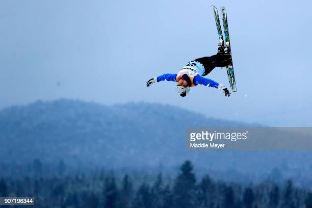 Ayana Zholdas of Kazakhstan jumps in the Ladies' Qualifying round during the Putnam Freestyle World Cup at the Lake Placid Olympic Ski Jumping...