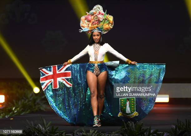 AyanaKeshelle Phillips Miss British Virgin Islands 2018 walks on stage during the 2018 Miss Universe national costume presentation in Chonburi...