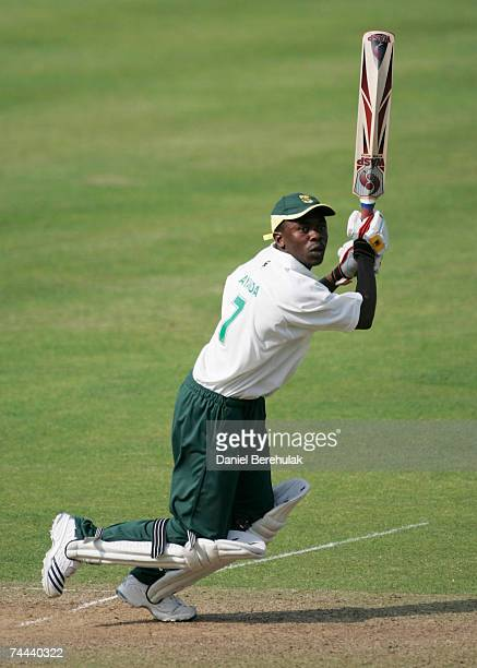 Ayanda Kolisi of South Africa hits out during the International Learning Disability TriNations Cricket match between England and South Africa at...