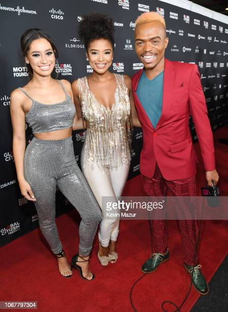 Ayanda Thabethe and Somizi Mhlongo attend Global Citizen Festival Mandela 100 at FNB Stadium on December 2 2018 in Johannesburg South Africa