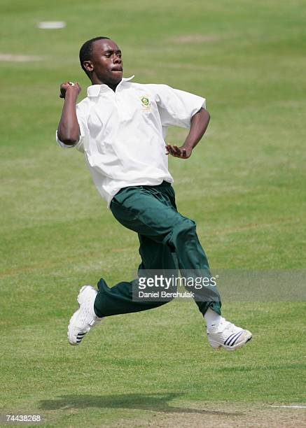 Ayande Kolisi of South Africa bowls during the International Learning Disability TriNations Cricket match between England and South Africa at Lord's...