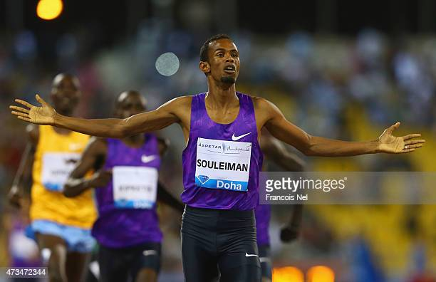 Ayanleh Souleiman of Djibouti celebrates as he wins the Men's 800m during the Doha IAAF Diamond League 2015 meeting at the Qatar Sports Club on May...