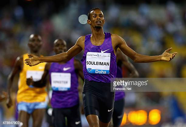 Ayanleh Souleiman of Djibouti celebrates as he wins the Men's 800m during the Doha IAAF Diamond League 2015 meeting at Qatar Sports Club on May 15,...