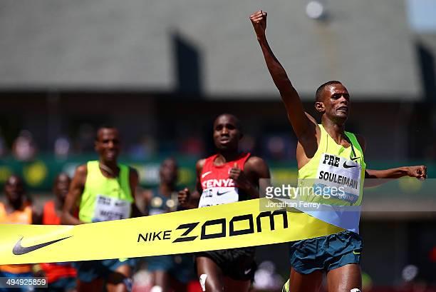 Ayanleh Souleiman of Djibouti celebrates winning the Bowerman Mile during day 2 of the IAAF Diamond League Nike Prefontaine Classic on May 31, 2014...
