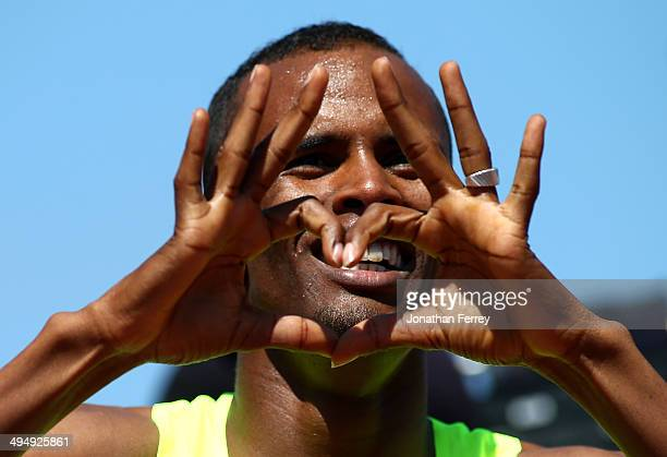 Ayanleh Souleiman of Djibouti celebrates winning the Bowerman Mile during day 2 of the IAAF Diamond League Nike Prefontaine Classic on May 31 2014 at...