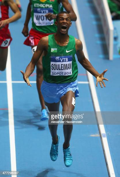 Ayanleh Souleiman of Djibouti celebrates winning the gold medal in the Men's 1500m final during day two of the IAAF World Indoor Championships at...