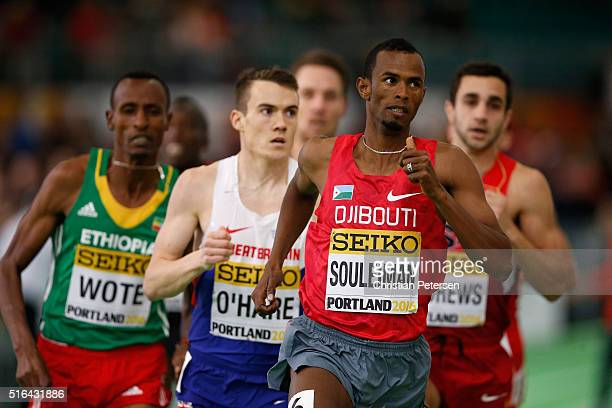 Ayanleh Souleiman of Djibouti competes in the Men's 1500 Metres Heats during day two of the IAAF World Indoor Championships at Oregon Convention...