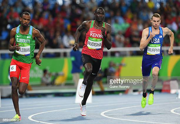 Ayanleh Souleiman of Djibouti, David Rudisha of Kenya, Clayton Murphy of the United States compete in the Men's 800m Semi Final on Day 8 of the Rio...