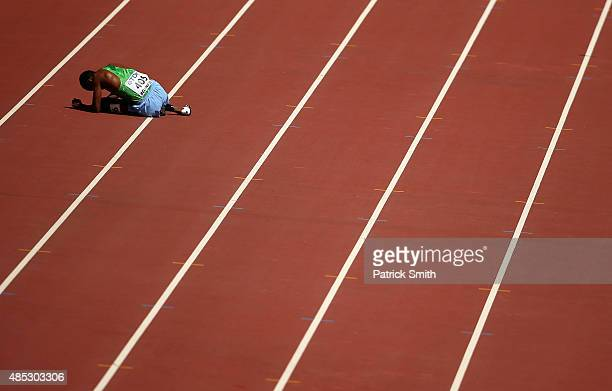 Ayanleh Souleiman of Djibouti fails to finish the Men's 1500 metres heats during day six of the 15th IAAF World Athletics Championships Beijing 2015...