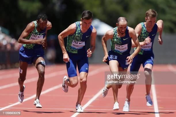 Ayanleh Souleiman of Djibouti Jakob Ingebrigtsen of Norway Brahim Kaazouzi and Filip Ingebrigtsenat of Norway run in the men's 1 mile during the...
