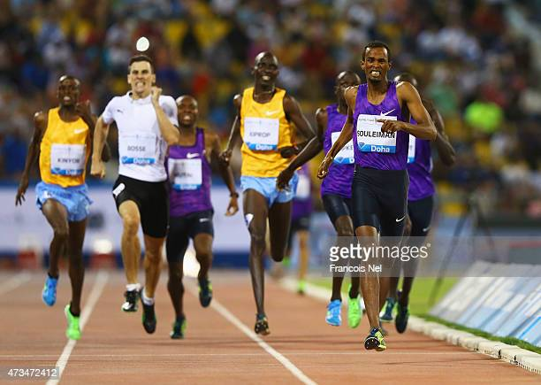 Ayanleh Souleiman of Djibouti races to the line to win the Men's 800m during the Doha IAAF Diamond League 2015 meeting at the Qatar Sports Club on...