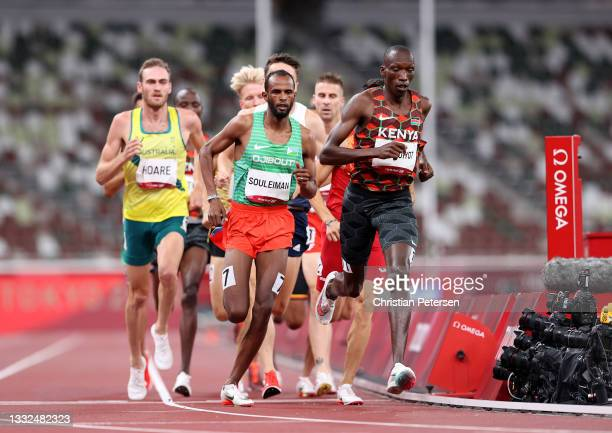 Ayanleh Souleiman of Team Djibouti and Timothy Cheruiyot of Team Kenya compete in the Men's 1500m Semi Final on day thirteen of the Tokyo 2020...