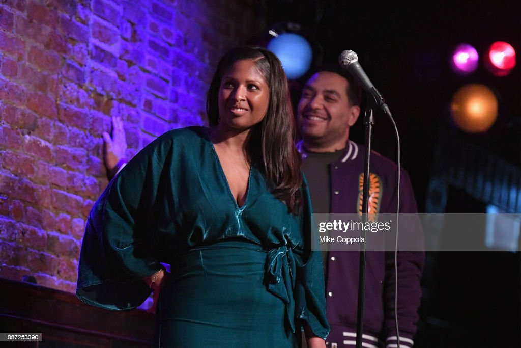 Ayanna Dookie (L) and Cipha Sounds speak onstage during truTV's Laff Mobb's Laff Tracks comedy show at The Village Underground on December 6, 2017 in New York City. (Photo by Mike Coppola/Getty Images for truTV) 27506_001