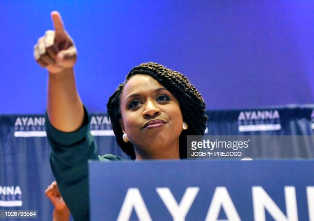 Ayanna Pressley Boston City Council member and Democratic candidate for congress delivers her victory speech at the IBEW Local 103 in Dorchester...