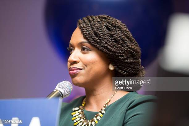 Ayanna Pressley Boston City Councilwomen and House Democratic candidate gives a victory speech at her primary night gathering after her opponent Mike...