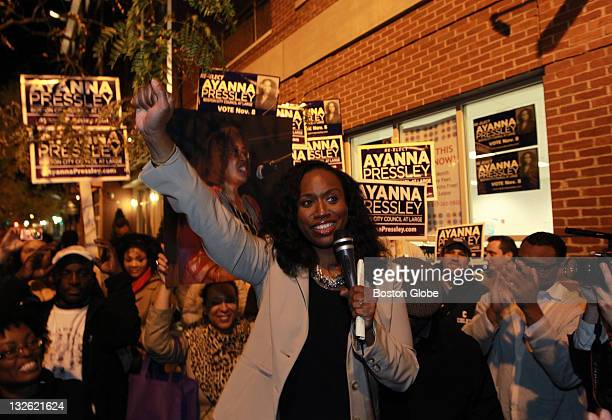 Ayanna Pressley speaks to supporters on the sidewalk outside the restaurant where her filledtocapacity postelection party was held after she captured...