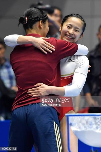 Ayano Kishi celebrates during the 32nd Trampoline Japan National Team Trial at Takasaki Arena on June 24 2017 in Takasaki Japan