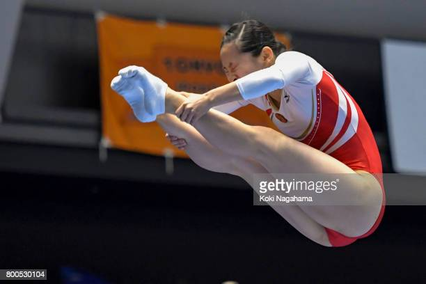 Ayano Kishi competes during the 32nd Trampoline Japan National Team Trial at Takasaki Arena on June 24 2017 in Takasaki Japan