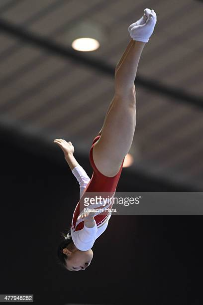 Ayano Kishi in action on day two of the Trampoline Japan National Team Trial for The Trampoline World Championships 2015 at Yoyogi National Gymnasium...