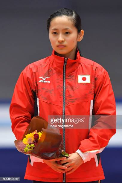 Ayano Kishi looks on during the ceremony of the 32nd Trampoline Japan National Team Trial at Takasaki Arena on June 24 2017 in Takasaki Japan