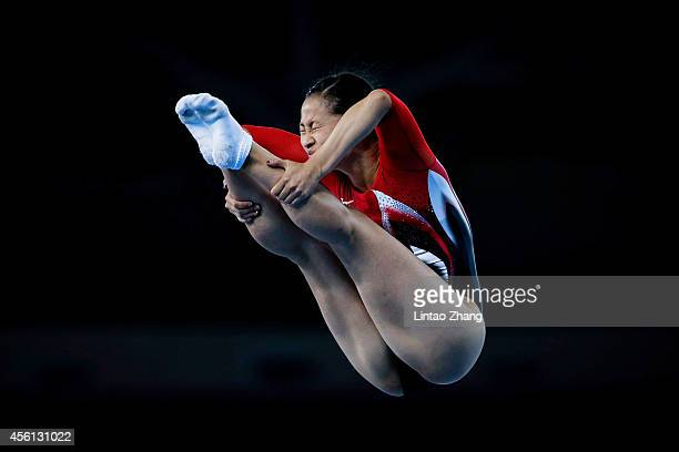 Ayano Kishi of Japan competes in the Gymnastics Trampoline Women's Final in day seven of the 2014 Asian Games at Namdong Gymnasium on September 26...