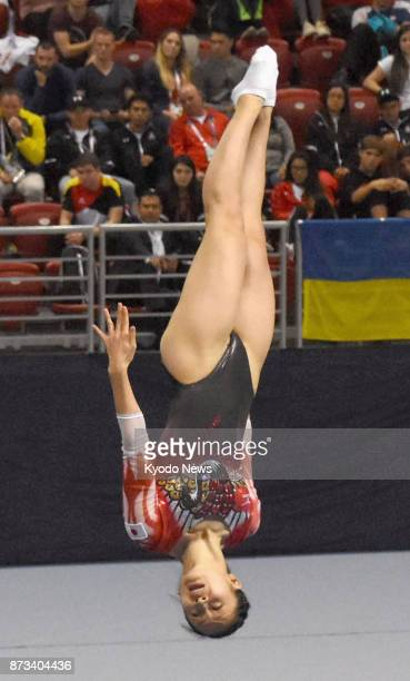 Ayano Kishi of Japan competes in the women's individual final of the world trampoline championships in Sofia Bulgaria on Nov 12 2017 Kishi took...