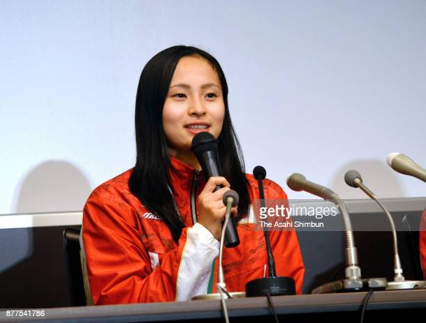 Ayano Kishi speaks during a press conference on arrival at Haneda Airport on November 14 2017 in Tokyo Japan