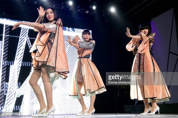 Ayano Omoto Ayaka Nishiwaki and Yuka Kashino of Perfume perform at Gobi Tent during the 2019 Coachella Valley Music And Arts Festival performs...
