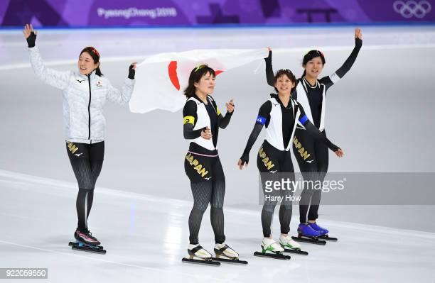 Ayano Sato Nana Takagi Ayaka Kikuchi and Miho Takagi of Japan celebrate after winning the gold medal during the Speed Skating Ladies' Team Pursuit...