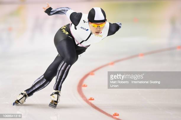 Ayano Sato of Japan competes during the Women's 1500m Division B race on day two of the ISU World Cup Speed Skating at Meiji HokkaidoTokachi Oval on...