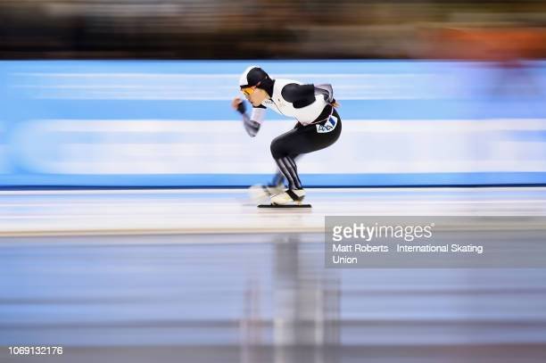 Ayano Sato of Japan competes during the Women's 3000m Division A race on day three of the ISU World Cup Speed Skating at Meiji HokkaidoTokachi Oval...