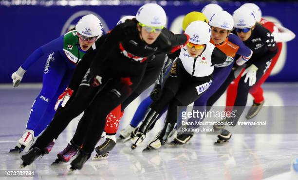 Ayano Sato of Japan competes in the Mass Start SemiFinal Ladies 1 during the ISU Speed Skating Long Track World Cup at the Thialf Ice Arena on...