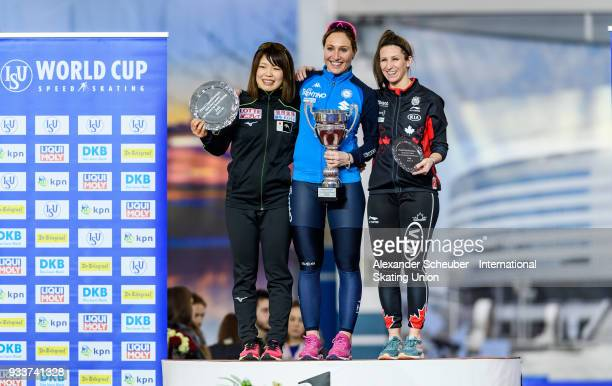 Ayano Sato of Japan Francesca Lollobrigida of Italy and Ivanie Blondie of Canda stand on the podium after the Overall Classification of the Ladies...