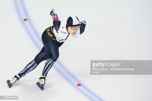 Ayano Sato skates in the ladies 1500m during the ISU World Allround Speed Skating Championships Calgary on Day 2 at the Olympic Oval on March 3 2019...