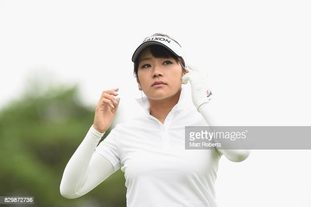 Ayano Yasuda of Japan looks on during the first round of the NEC Karuizawa 72 Golf Tournament 2017 at the Karuizawa 72 Golf North Course on August 11...
