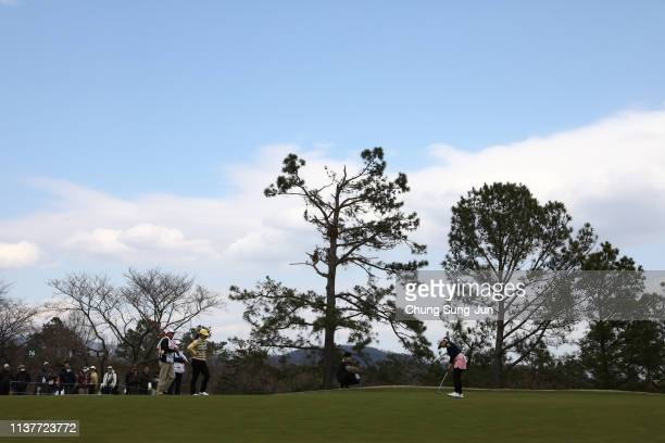 Ayano Yasuda of Japan plays a putt on the 16th hole during the second round of the TPoint x ENEOS Golf Tournament at Ibaraki Kokusai Golf Club on...