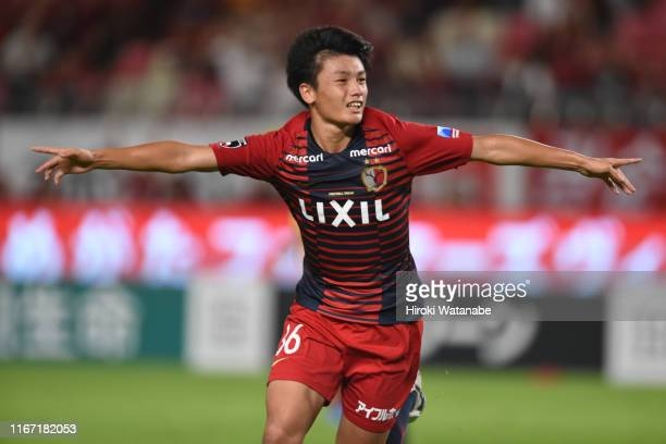 Ayase Ueda of Kashima Antlers celebrates scoring his team's second goal during the JLeague J1 match between Kashima Antlers and Yokohama FMarinos at...