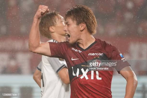 Ayase Ueda of Kashima Antlers celebrates scoring his team's second goal during the J.League Meiji Yasuda J1 match between Kashima Antlers and...
