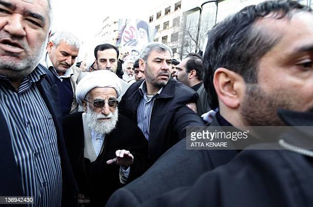 Ayatollah Ahmad Jannati the hardline chief of Iran's Guardians Council attends the funeral of Iranian nuclear scientist Mostafa AhmadiRoshan in...
