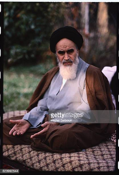 Ayatollah Khomeini in the garden at Neauphles Castle just before his return to Iran