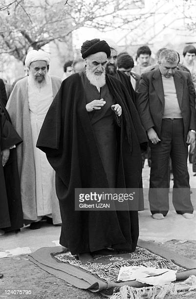 Ayatollah Khomeini praying in Neauphle le Chateau France on November 20 1978
