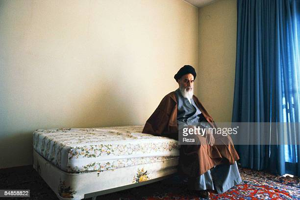 Ayatollah Khomeini the religious leader of the 1979 Iranian revolution shortly after his arrival in Tehran in the bedroom of his first house