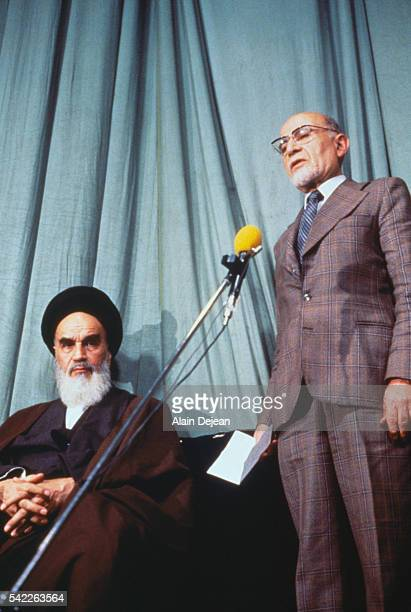 Ayatollah Khomeini with the provisional goverment's new Prime Minister Medhi Bazargan after the Iranian Revolution