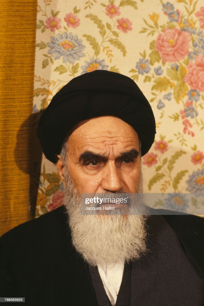 Ayatollah Ruhollah Khomeini in exile in his French residence of Neauphle le Chateau.