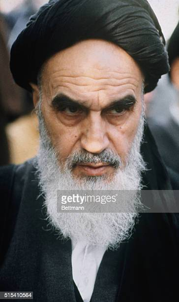 Ayatollah Ruhollah Khomeini in Paris during his exile. Khomeini was exiled from Iran in 1964, first taking up residence in Iraq, then moving to...