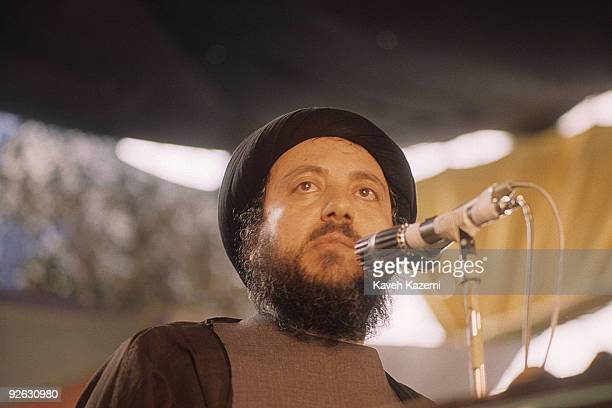 Ayatollah Sayed Mohammed Baqir alHakim one of the foremost Twelver Shi'a Muslim leaders in Iraq speaks to Iraqi prisoners of the IranIraq war in a...