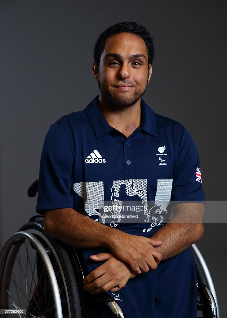 Ayaz Bhuta, a member of the ParalympicsGB Wheelchair Rugby team, poses for a portrait during the Paralympics GB Media Day at Park Plaza Westminster Bridge Hotel on July 16, 2016 in London, England.