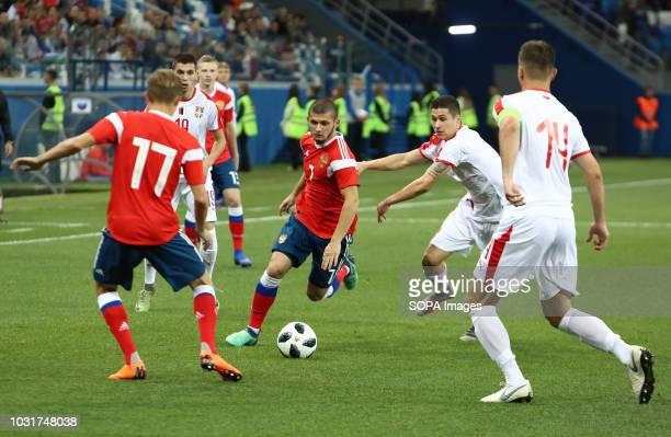 Ayaz Guliev Aleksandr Zuev and Vukashin Jovanovi Danilo Pantic seen in action during the match 2019 UEFA European Under21 Championship Russia vs...