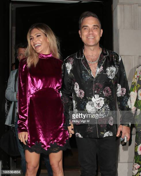 Ayda Field and Robbie Williams seen on a night out leaving Annabel's on July 25 2018 in London England