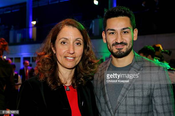 Aydan Oezoguz Federal Government Commissioner for Migration Refugees and Integration and Ilka Gndogan interact during the DFB Mercedes Benz...